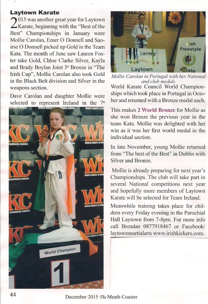 Mollie and Dave Carolan with Brendan Donnelly Karate report,