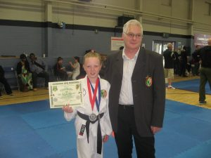 Mollie Carolan Gold, with Sensei Donnelly of Drogheda Martial Arts