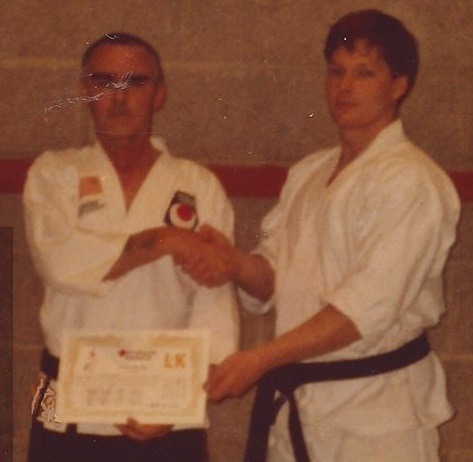John Mc Grane Brendan Donnelly Receives his 4th Dan in 18/02/1992 from Sensei McGrane